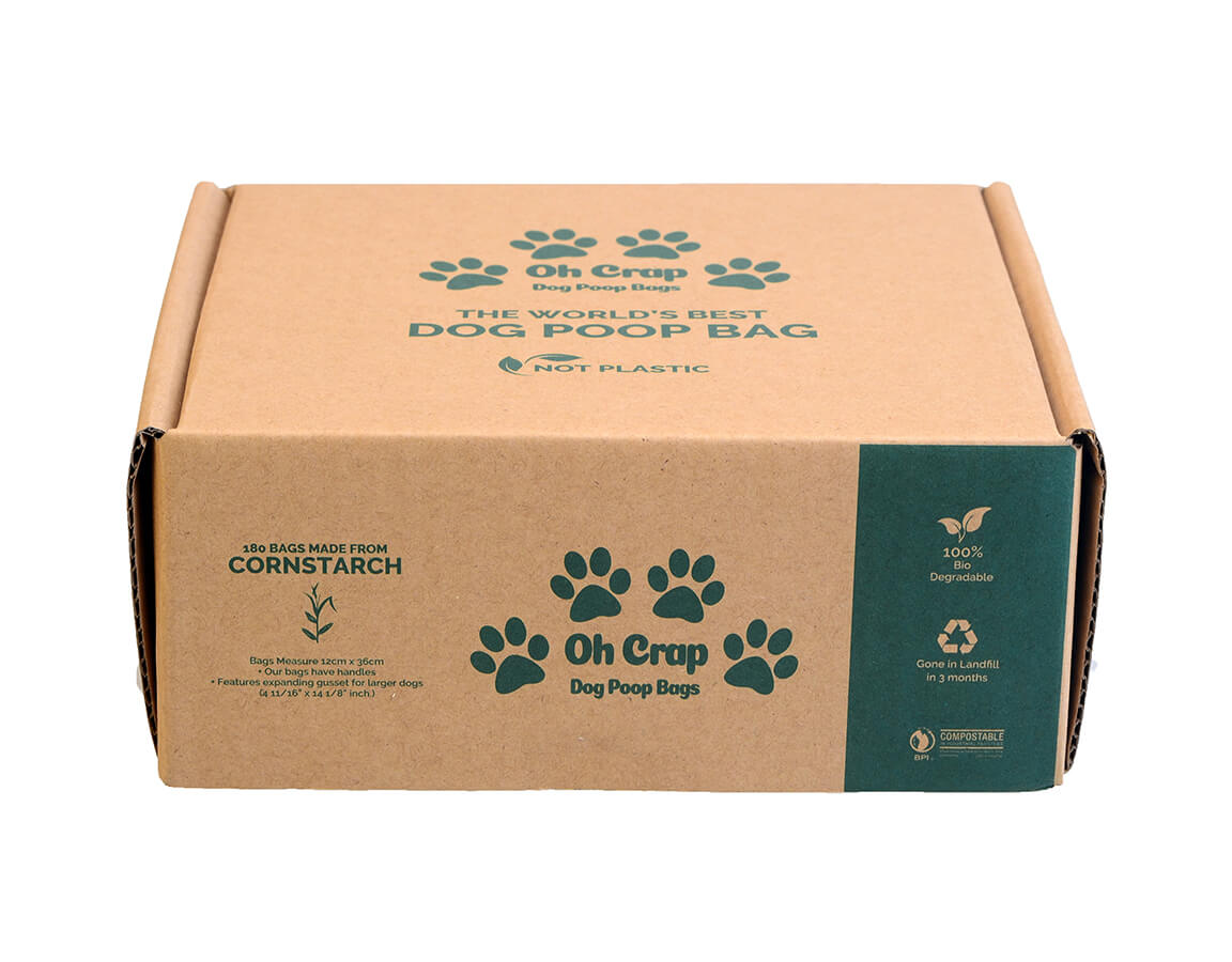 The front of the Oh Crap Non Plastic Biodegradable Dog Poop Bags 6 Month Pack box