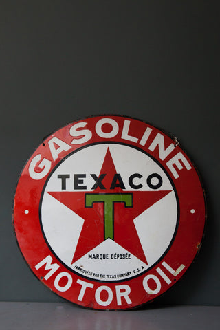 1940's French Texaco Gasoline & Motor Oil Porcelain Sign
