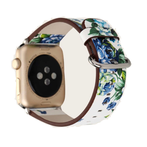 Apple Watch Strap 38/40mm - Floral - White/Blue