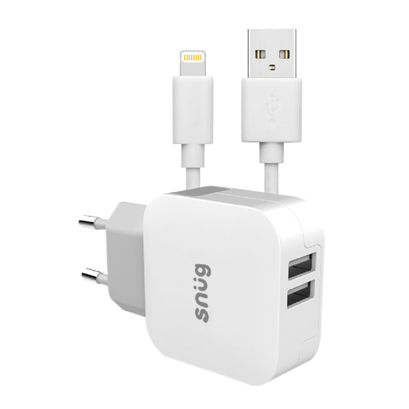 Snug Home Charger 2 USB Port 3.4 Amp Charger – Lightning