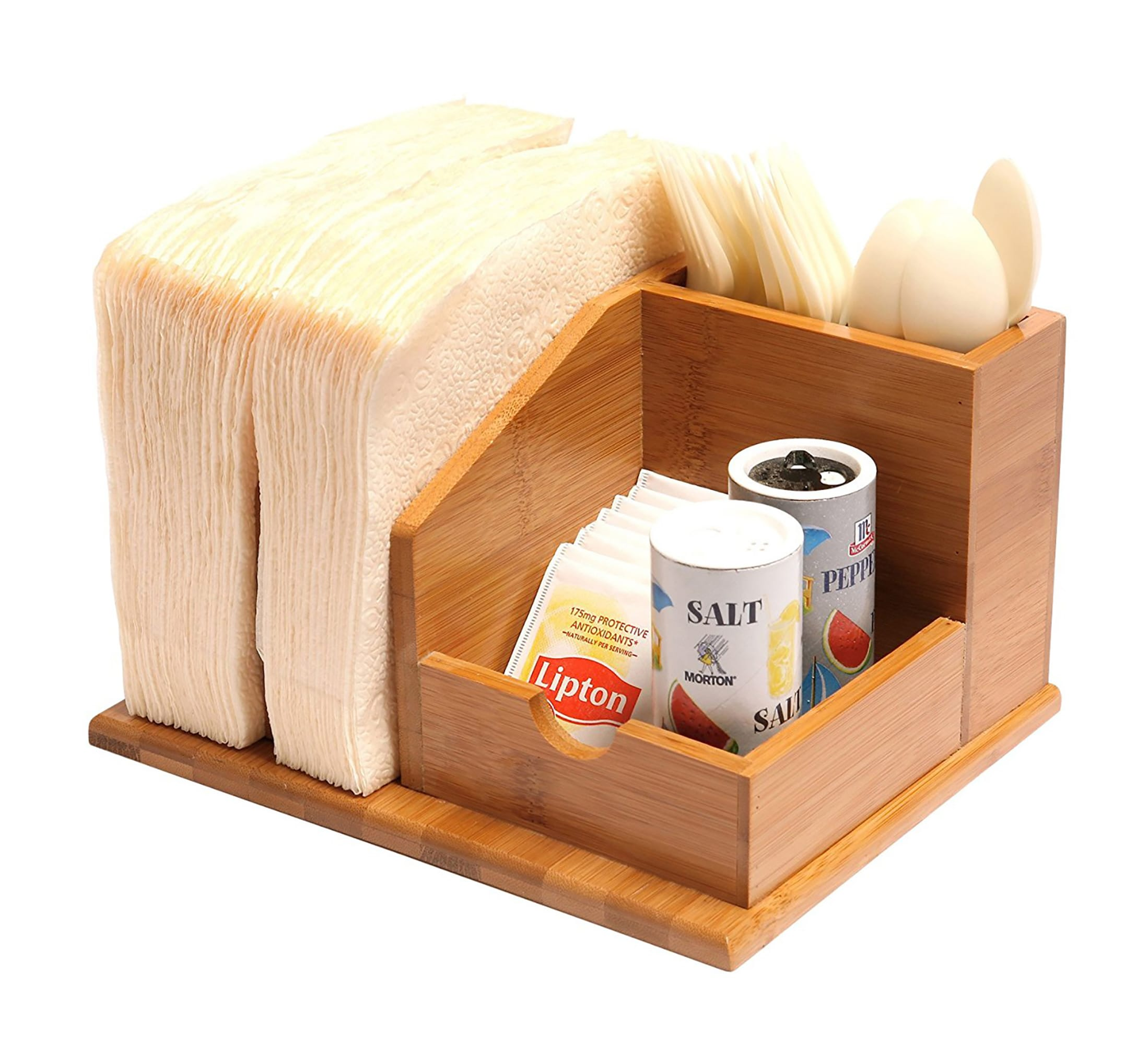 Qi Bamboo Small Space Kitchen Organizer Utensils Napkins Condiments ...