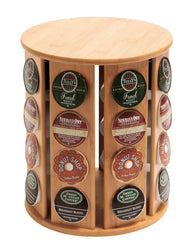 QI Bamboo Rotating Coffee Pod Holder Compatible with Keurig K-Cup (10658)
