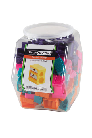 Baumgartens Pencil Sharpeners Dual Hole Hexagonal Tub Display of 100 ASSORTED Colors (13329)