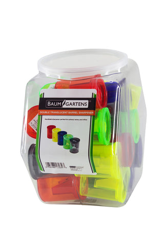 Baumgartens Translucent Barrel Pencil Sharpener Double Hole ASSORTED Colors (17039)