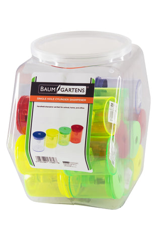 Baumgartens Cylinder Pencil Sharpener Single Hole ASSORTED Colors (17089)