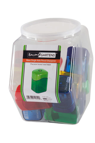 Baumgartens Pencil Sharpeners Wave Single Hole Hexagonal Tub Display of 15 ASSORTED Colors (19059)
