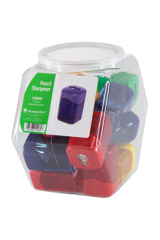 Baumgartens Pencil Sharpeners Wave Dual Hole Hexagonal Tub Display of 15 ASSORTED Colors (19069)