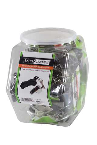 Baumgartens Whistle with Lanyard Hexagonal Tub Display of 24 CHROME (20119)