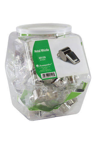 Baumgartens Whistle Hexagonal Tub Display of 36 CHROME (20129)