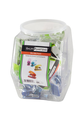 Baumgartens Mini Hole Punch Tub Display of 30 ASSORTED Colors (20279)