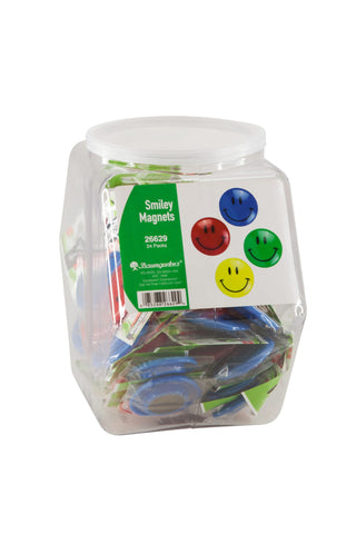Zeüs Smiley Face Magnets Hexagonal Tub Display of 24 ASSORTED Colors (26629)