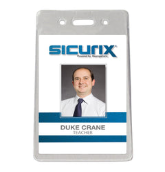 SICURIX Proximity Badge Holders Vertical 50 Pack CLEAR (47820)