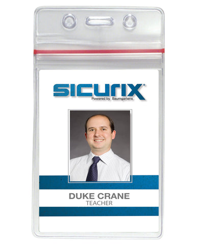 SICURIX Zip Closure Sealable ID Badge Holders Vertical 50 Pack CLEAR (47840)