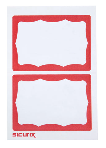 SICURIX RED Border Adhesive Badges 2 Per Sheet 100 Pack WHITE (67642)