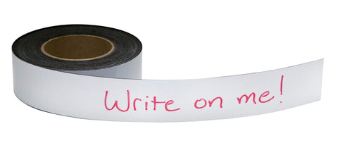 "Zeüs Write On/Wipe Off Magnetic Label Tape 50' x 3"" WHITE (66153)"
