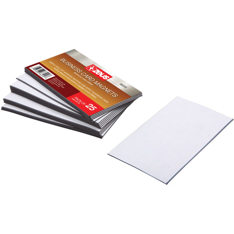 "Zeüs Adhesive Backed Business Card Magnets 3 1/2"" x 2"" 25 Pack WHITE (66200)"
