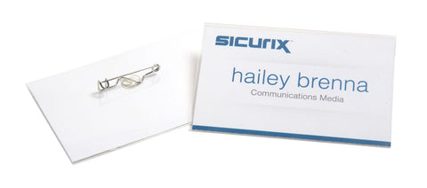 "SICURIX Pin Style Printable Badge Kit 3 1/2"" x 2 1/4"" Horizontal 100 Pack (67671)"