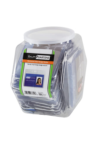 SICURIX Badge Holders Standard Horizontal Hexagonal Tub Display of 20 CLEAR (67819)