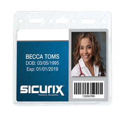 SICURIX Standard Badge Holders Horizontal 50 Pack CLEAR (67830)