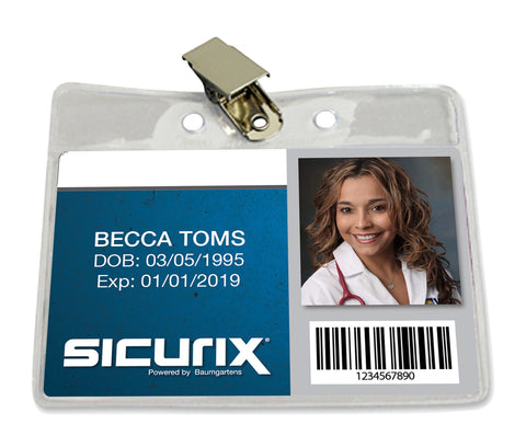 SICURIX Standard Badge Holders Horizontal Clip 50 Pack CLEAR (67850)