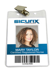 SICURIX Standard Badge Holders Vertical Clip 50 Pack CLEAR (67860)