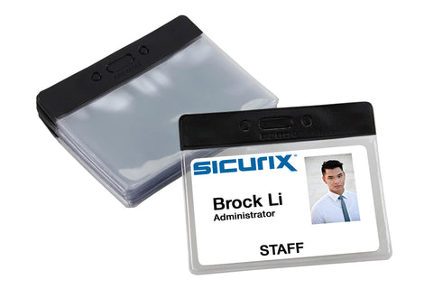 SICURIX Badge Holder Horizontal BLACK Vinyl 50 Pack (68054)