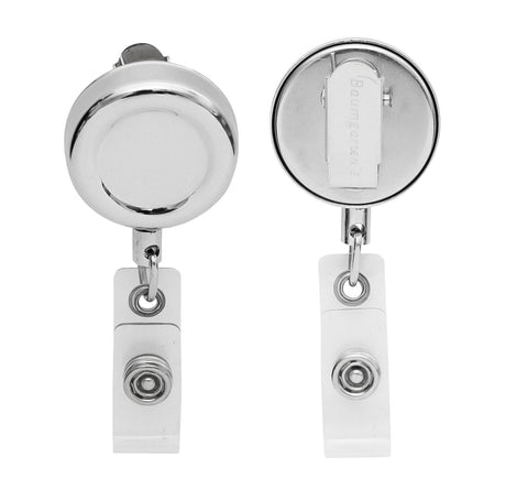 SICURIX Standard ID Badge Reel Round Swivel Spring Clip Strap CHROME (68670)