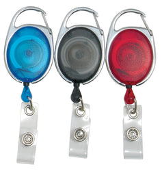 SICURIX Quick Clip ID Badge Reels Oval Strap 3 Pack RED BLUE Smoke (68769)
