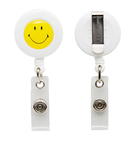 SICURIX Smiley Face ID Badge Reel Round Belt Clip Strap WHITE (68808)