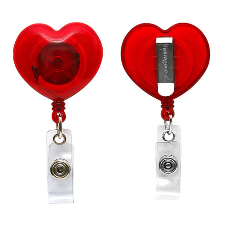 SICURIX Heart Shaped ID Badge Reel Round Belt Clip Strap RED (68818)