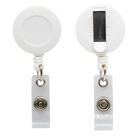 SICURIX Standard ID Badge Reel Round Belt Clip Strap WHITE (68821)