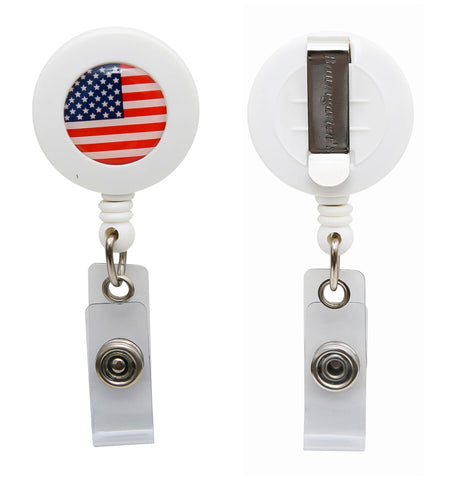 SICURIX US Flag ID Badge Reel Round Belt Clip Strap WHITE (68838)