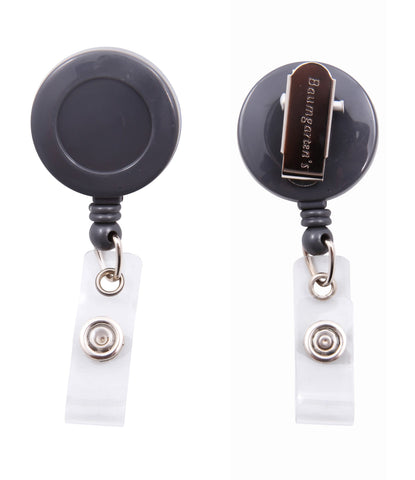 SICURIX Standard ID Badge Reel Round Swivel Spring Clip Strap GREY (68840)