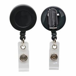 SICURIX Standard ID Badge Reel Round Swivel Spring Clip Strap BLACK (68844)