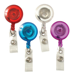 SICURIX Translucent ID Badge Reels Round Belt Clip Strap 4 Pack RED BLUE CLEAR PURPLE (68884)