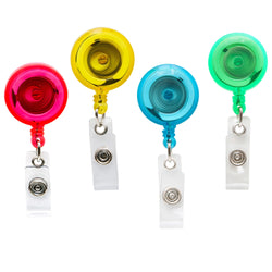 SICURIX Translucent ID Badge Reels Round Belt Clip Strap 4 Pack ASSORTED COLORS (68894)
