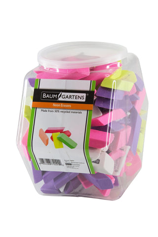 Baumgartens Pencil Erasers NEON Hexagonal Tub Display of 100 ASSORTED Colors (74099)