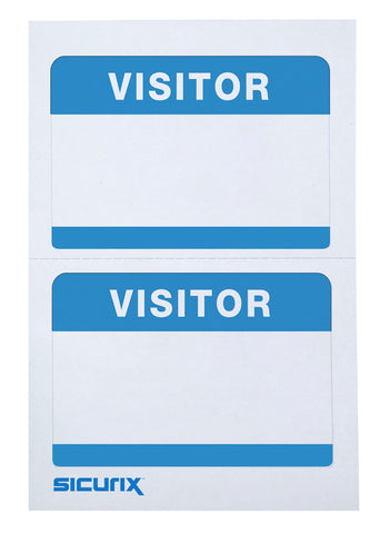 SICURIX Visitor Adhesive Badges 2 Per Sheet 100 Pack WHITE (67630)
