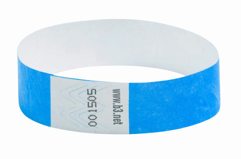 SICURIX Sequentially Numbered Security Wristbands 100 Pack BLUE (85030)