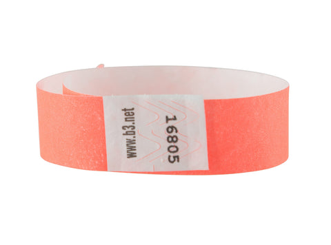 SICURIX Sequentially Numbered Security Wristbands 100 Pack ORANGE (85050)