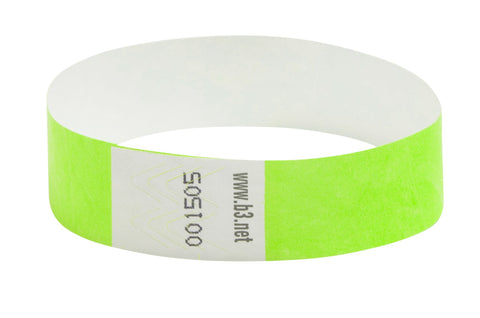 SICURIX Sequentially Numbered Security Wristbands 100 Pack GREEN (85060)