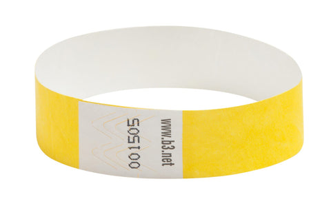 SICURIX Sequentially Numbered Security Wristbands 100 Pack YELLOW (85070)