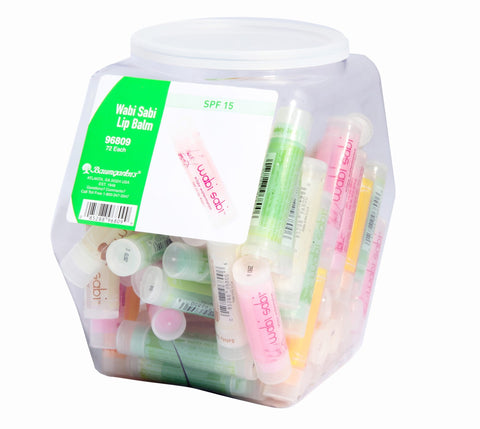 Baumgartens Wabi Sabi Lip Balm Hexagonal Tub Display of 72 ASSORTED Colors (96809)