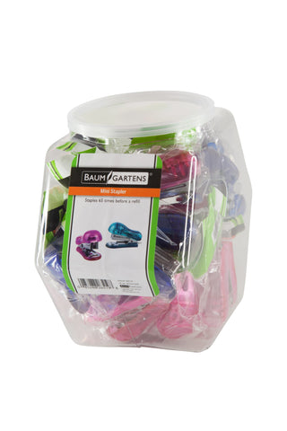 Baumgartens Mini Staplers Mini Hexagonal Tub Display of 16 ASSORTED Colors (26519)
