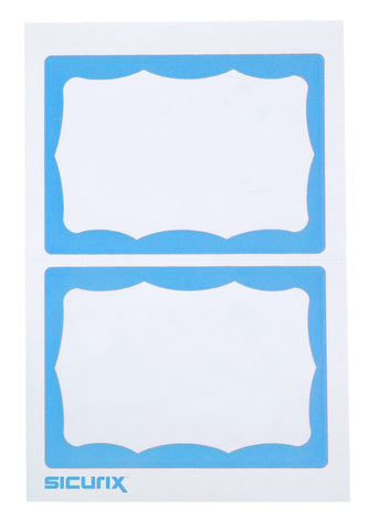 SICURIX BLUE Border Adhesive Badges 2 Per Sheet 100 Pack WHITE (67643)