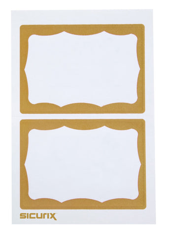 SICURIX GOLD Border Adhesive Badges 2 Per Sheet 100 Pack WHITE (67647)
