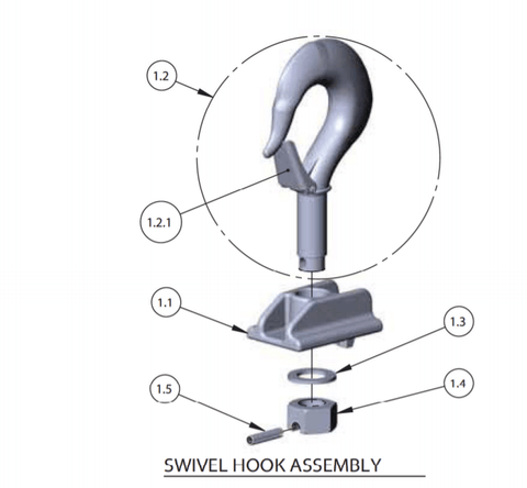 Lodestar Hoist Part- Swivel Upper Hook Lug Pin (983764)