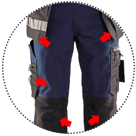 Highly wear-resistant with numerous reinforced areas