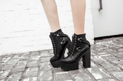 Cross-Tied Black Leather Platform Boots