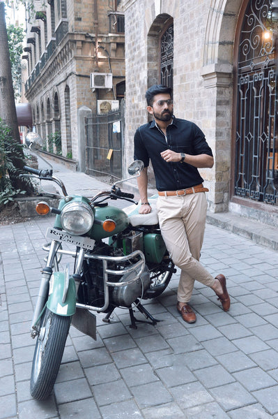 EVOQ - Dark Night Party Wear cum Formal Shirt - Royal Enfield Bullet - The Vogue and Fit